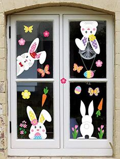 Easter Bunny Window Cling Decorations - Egg Hunt Games Decals Home Party Ornaments Easter Puzzles, Easter Activities For Kids, Easter Crafts For Kids, Easter Projects, Easter Art, Easter Bunny, Spring Crafts, Holiday Crafts, Diy Easter Decorations
