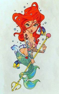 Maybe a mermaid instead of a pin up girl? Not specifically Ariel, but a watercolour version on something like this!