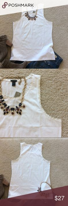 """J. Crew Faux Leather Trimmed Tank J. Crew Faux Leather Trimmed Tank. White. A little edge added to this wardrobe staple. Laying flat approx 25"""" shoulder to hem, approx 17"""" pit to pit. 100% cotton. Size S. NWT, never worn. #623 J. Crew Tops Tank Tops"""