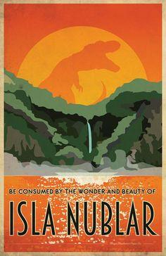 Isla Nublar travel poster
