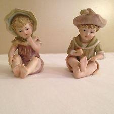 Vintage Biscuit Menino E Menina Piano Baby Doll Estatuetas # 6162 Japão Pintado À Mão