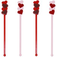 - Made In USA Drink Stirrers, Stir Sticks, Love Valentines, Red And Pink, Cocktails, Romantic, How To Make, Plastic, Heart Anatomy