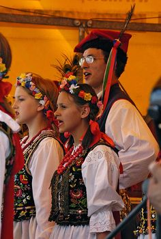 "A regional folkloric dance group at the ""Bread Festival"" on Plac Wolnica, Krakow"