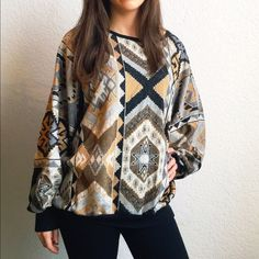 Vintage Oversized Tribal Pattern Sweater Item description: this sweater is truly one of my favorites, looking for a loving home! Very unique and so comfy to thrown on over leggings or skinnys!   Fit: worn on XS model, could fit up to size L, depending on desired fit  Condition: worn, very good condition for vintage  Major defects/damage: none  Sorry, not looking for trades right now. Sweaters Crew & Scoop Necks