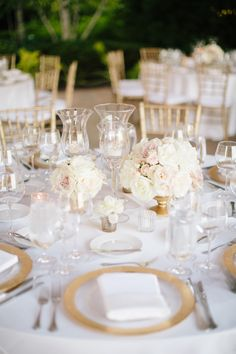 """Give me a wedding with a blush and gold color palette any day of the week and I am all sorts of happy. Now throw in a fab locale like The Chicago Botanic Garden , a sweeter than sweet duo saying """"I d. Wedding Centerpieces, Wedding Decorations, Table Decorations, Chicago Botanic Garden, Gold Color Palettes, Wedding Reception, Wedding Fun, Gold Wedding, Wedding Bells"""