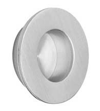"Small Round Brushed Stainless Steel Flush Pull has a 1-3/8"" diameter. Flush pulls are mortised into the face of the door. For use on sliding doors, pocket doors, cabinet doors--any door where a flush pull is desired."