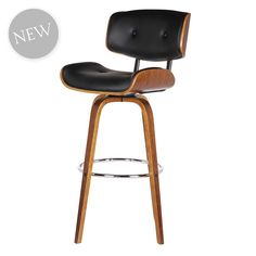 Cali Fixed Bar Chair | Black/Walnut | 55x113cm by Designer Bar Stools on THEHOME.COM.AU