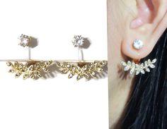 Items similar to Micro Crystal CLIP-ON Earrings Ear Jackets Gold Laurel Leaf Wedding Clip on Earrings Rhinestone Clip on Non Pierced Bridal Clip Earrings on Etsy Screw Back Earrings, Earring Backs, Clip On Earrings, Ear Earrings, Celebrity Ear Piercings, Back Piercings, Cartilage Earrings, Pierced Earrings, Wedding Clip