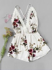 Shop Lace Panel Open Back Floral Cami Romper online. SheIn offers Lace Panel Open Back Floral Cami Romper & more to fit your fashionable needs. Teenage Outfits, Teen Fashion Outfits, Outfits For Teens, Girl Outfits, Cute Casual Outfits, Cute Summer Outfits, Stylish Outfits, Jugend Mode Outfits, Vetement Fashion