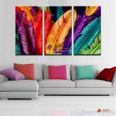 Canvas art ideas 3 piece fresh look color feather modern home wall decor painting canvas art ideas diy canvas art painting ideas Feather Painting, Oil Painting Abstract, Feather Art, Tree Canvas, Canvas Art, Painting Canvas, Framing Canvas, Canvas Prints, Diy Canvas