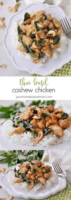 Thai Basil Cashew Chicken Recipe - this makes for a delicious meal for the family that is really easy!