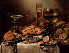 Pieter Claesz, Banquet Still Life With A Crab On A Silver Platter, A Bunch Of Grapes, A Bowl Of Olives, And A Peeled Lemon All Resting On A Draped Table, 1654