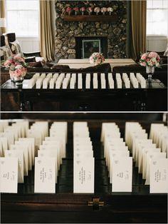 escort card display table #elegantwedding #escortcards #weddingchicks http://www.weddingchicks.com/2014/03/05/hawaiian-pink-and-gold-wedding/