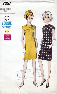60s Vogue dress sewing patterns 7257, Bust 38 inches, Slim dress with cowl neckline