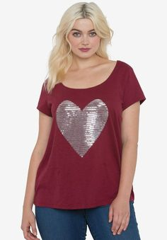 f3f31900e9e Embellished Scoop Neck Tee by ellos®