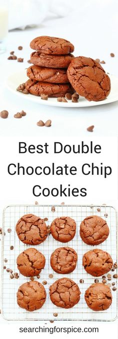 This is the recipe for the best double chocolate chip cookies ever. Gooey rich and full of chocolate, they are sure to be popular. #chocolatechipcookies #doublechocolatechip #cookies #baking