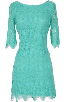 Vintage-Inspired Lace Overlay Dress in Turquoise