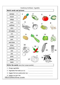 Vocabulary worksheet containing VEGETABLES. It has two sections: Match words and pictures (matching exercise) and Write the Words (reading & spelling exercise). English Vocabulary Games, Vocabulary Worksheets, Kindergarten Worksheets, Worksheets For Kids, Matching Worksheets, Spanish Worksheets, English Lessons, Learn English, English Resources