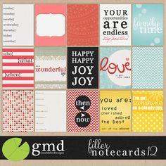 filler cards 750 project life journal cards, pack 12 | digital scrapbooking
