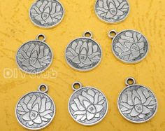 20pcs of Antique Tibetan silver Lotus Flower Charm pendants 2 sided 18x15mm