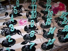 Tabel Numbers :  wedding black blue decor numbers reception table numbers tables tiffany blue Wedding