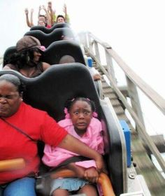 roller coasters are not this girls thing hahaha, poor thing.