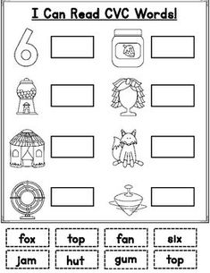 You get 3 hands on cut and paste worksheets that your students will have to read the word and paste it next to the picture. Great practice for Kinder and First! I have my PreK students doing this already! Phonics Rules, Alphabet Phonics, Phonics Worksheets, School Worksheets, Phonics Activities, Worksheets For Kids, Pre-k Resources, First Grade Reading Comprehension, First Grade Phonics