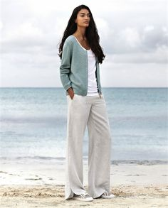 Image of Wide Leg Striped Linen Trousers