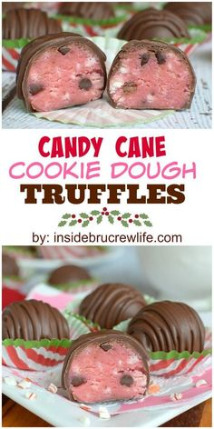 Candy canes and chocolate chips make these cookie dough truffles the perfect holiday treat!