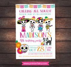 Día de muertos invitación Mexican fiesta de cumpleaños día