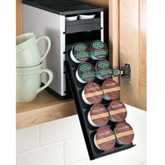 Neat, space-saving coffee pod storage. Stores 40 k-cups.  Need to save up for a couple of these.