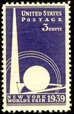 "United States Scott #853 (01 Apr 1939) New York World's Fair issue:  Trylon and Perisphere.   The Trylon and Perisphere were two modernistic structures, together known as the ""Theme Center,"" at the center of the New York World's Fair of 1939-40.   The sphere housed a diorama called ""Democracity"" which, in keeping with the fair's theme ""The World of Tomorrow"", depicted a utopian city-of-the-future.   Many countries around the world participated in the NYWF during its two seasons (1939 & 1940)…"