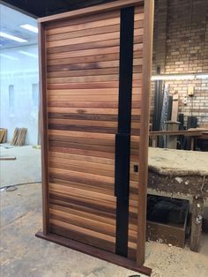 handcrafted western red cedar door with a raised panel translucent