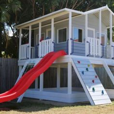 Plans of Woodworking Diy Projects - Taj Mahal Cubby House - Elevation with added Accessories Get A Lifetime Of Project Ideas & Inspiration! Kids Backyard Playground, Backyard Playset, Backyard Playhouse, Build A Playhouse, Backyard For Kids, Outdoor Playset, Garden Kids, Diy Easy Playhouse, Kids Playhouse Plans