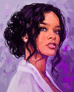 Rihanna by Courtney Myers on Dribbble digital art ipad pro - Digital Art Black Girl Art, Art Girl, Disney Drawings, My Drawings, Native American Girls, Rihanna Style, Ipad Art, Dog Portraits, Character Art