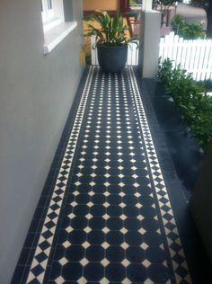 Federation tessellated ceramic tiles, in an Oxley pattern. + Hedge in front of balcony as well as behind the fence. Balcony Tiles, Patio Tiles, Outdoor Tiles, Hall Tiles, Tiled Hallway, Porch Tile, Porch Flooring, House Front, My House