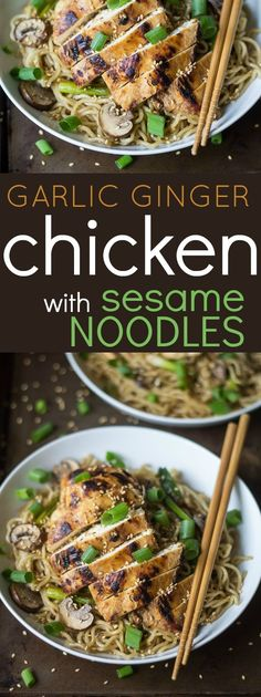 Craving a take-out noodle bowl? This Garlic Ginger Chicken with Sesame Noodles i. Craving a take-out noodle bowl? This Garlic Ginger Chicken with Sesame Noodles is quick, easy, and hits the spot every time! Turkey Recipes, Chicken Recipes, Dinner Recipes, Dinner Ideas, Garlic Ginger Chicken, Asian Recipes, Healthy Recipes, Sesame Noodles, Asian Noodles