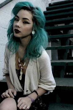#green #dyed Not something I'd ever try but it looks great on her!