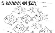 Print off this and other colouring pages of collective nouns. Teach children all about a school of fish and other species collective noun titles.