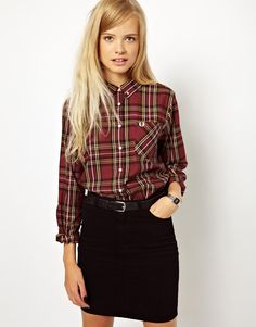 Search for fred perry women at ASOS. Shop from over styles, including fred perry women. Preppy Mode, Preppy Style, Style Me, Mod Fashion, Fashion Mode, Fashion Outfits, Womens Fashion, Plaid Shirt Outfits, Cute Outfits