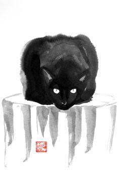 """Pechane • """"Cat on wood"""" • Encre sur papier • KAZoART #art #artcontemporain #oeuvre #galeriedart #artabordable #accessible #noel #noel2017 #cadeaux #artist #animal #chat #encre #papier #noir"""
