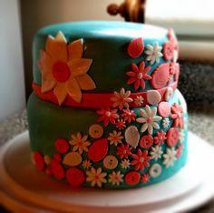 Flower/button themed cake