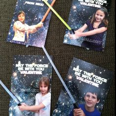 Star Wars Valentines!!  From the creator, Laura:   I took pics of the kids this morning (just on my phone!) and then I just did a Google search for a space background. The Star Wars font is free to download, and I bought the glow sticks at Walmart - 12 in a pack for $.97. I made a small slit in each photo with an X-Acto knife and the glow sticks are inserted from the back, then taped in place on the back of each photo.