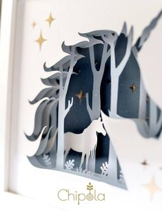 Unicorn 3d DIY shadow box 3d papercraft Unicorn Paper Art