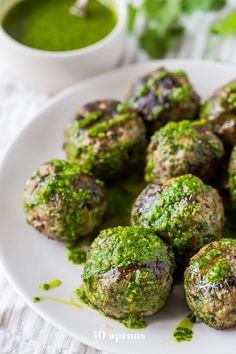 These Chimichurri Meatballs Are Packed Full Of Flavor And Come Together Easily With The Help Of A Food Processor. Perfect For Those On A Spring Or Summer Theyre Garlicky And Tender, Thanks To The Swiss Chard. Is There Any Better Way To Get Your Greens? Chimichurri, Whole30 Dinner Recipes, Paleo Recipes, Real Food Recipes, Candida Recipes, Pork Recipes, Delicious Recipes, Chicken Recipes, Whole 30 Lunch