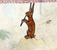 rabbit piper 'The Rutland Psalter', England ca. 1260. British Library, Add 62925, fol. 100r