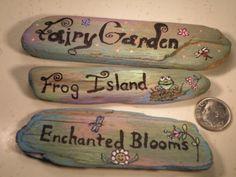 Set of Three Hand Painted Miniature Drift Wood Signs by ByTamara,