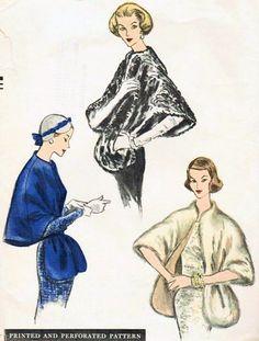 1950s FABULOUS Evening Cape Stoles Wraps Pattern VOGUE 8997 Bust 34-36 Vintage Sewing Pattern