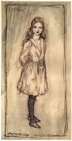 Arthur Rackham (1867-1939) produced the illustrations for the 1907 edition of 'Alice in Wonderland'. He also illustrated editions of the Fairy Tales of the Brothers Grimm, Mother Goose and Gulliver's Travels.