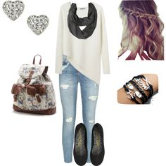 No earring or the backpack or the purple but everything else would make a perfect Saturday outfit :)